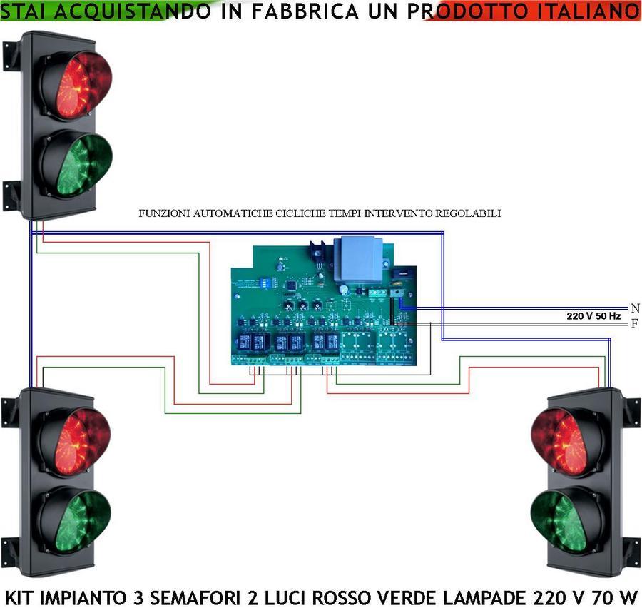 SEMAFORO ROSSO VERDE DOPPIA 2 LUCI LED 230V LAMPADA PARCHEGGIO IMPIANTO